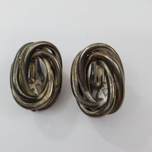 Jewelry - Knot Clip On Earrings Silver Tone Vintage Big 1 In